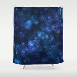 Blue Snowflakes Winter Christmas Pattern Shower Curtain