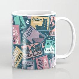 Retro Postcards // blue background Coffee Mug