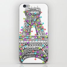 Paris Eiffel Tower Holiday Lights Multi iPhone & iPod Skin