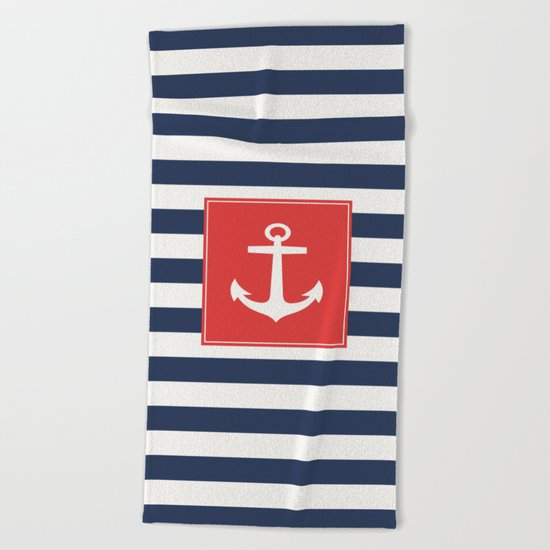 Anchor on blue and white stripes Beach Towel