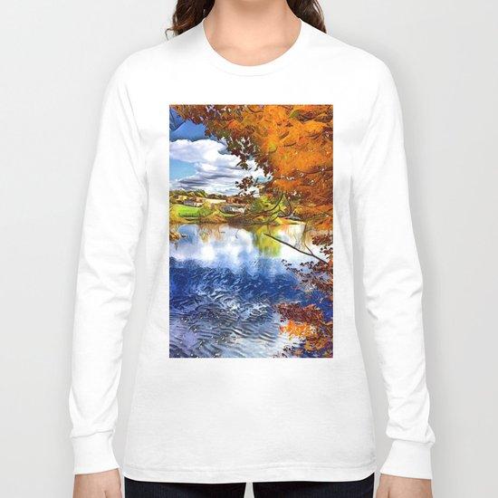 Romantic Fall River Town Nature View Long Sleeve T-shirt