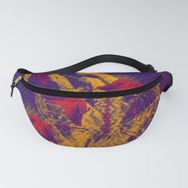 Red radioactive butterflies in glowing landscape Fanny Pack