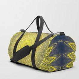 Bright Gold Navy Bohemian Mandala Duffle Bag