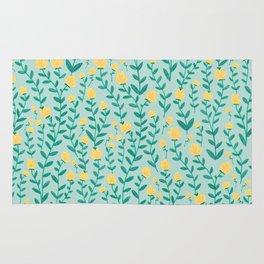 Emerald green and Yellow Minimal Retro Flowers Pattern Rug