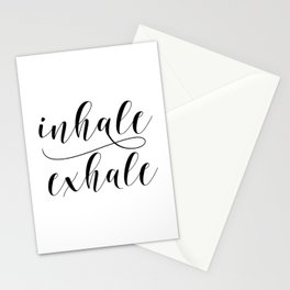 Inhale Exhale print, Black and white print, Gift For Her, Typography Print, Office Wall Art, Minimal Stationery Cards