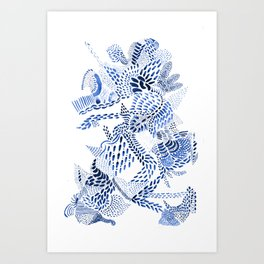 blue dragon on white Art Print