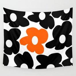 Large Orange and Black Retro Flowers White Background #decor #society6 #buyart Wall Tapestry