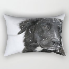 Black Dog in the Snow Rectangular Pillow