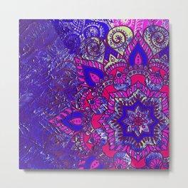 -A15- Colored Moroccan Mandala Artwork. Metal Print