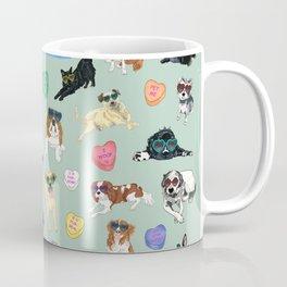 Valentine's Day Candy Hearts Puppy Love - Mint Green Coffee Mug