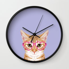 Mackenzie - Orange Tabby Cute Hipster Glasses Kitten Lavender Pastel Girly Retro Cat Art cell phone Wall Clock