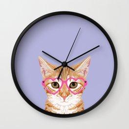 Mackenzie - Orange Tabby Cute Hipster Glasses Kitten Lavender Pastel Girly Retro Cat Art cell phone Wall Clock