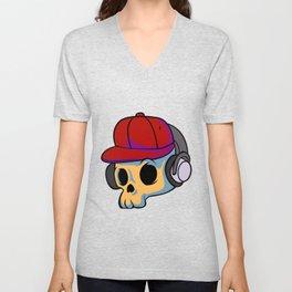 cartoon skull with Earphones and hat Unisex V-Neck
