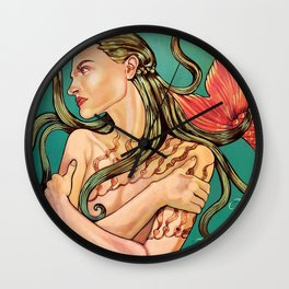 La Sirena from the Loteria Camp series Wall Clock