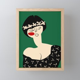 Girl with flower crown Framed Mini Art Print