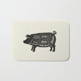 PORK BUTCHER DIAGRAM (pig) Bath Mat