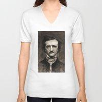 edgar allan poe V-neck T-shirts featuring EDGAR ALLAN POE by Jason Seiler