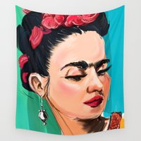 frida Wall Tapestries featuring Frida by Jaleesa McLean