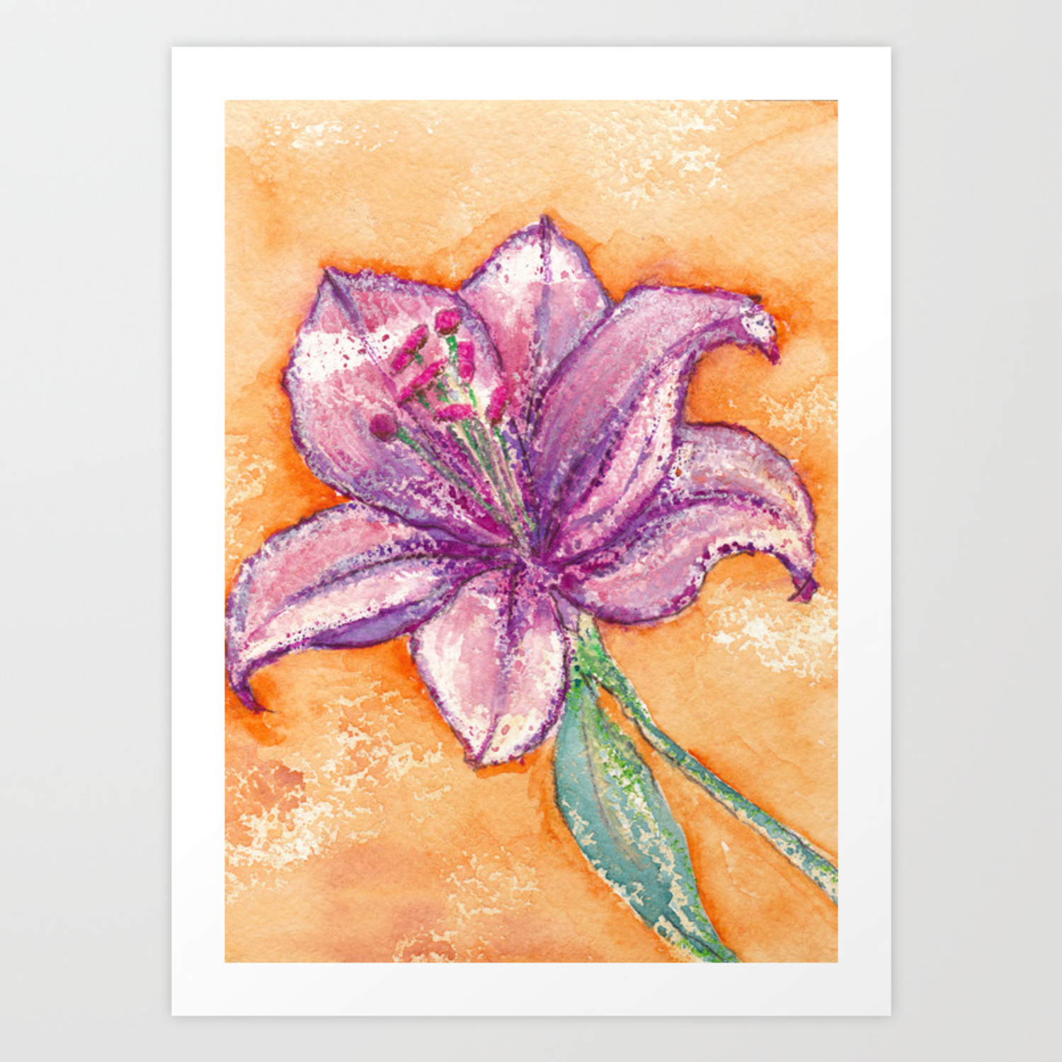 Pink Lily Flower On Orange Watercolor Background Art Print By