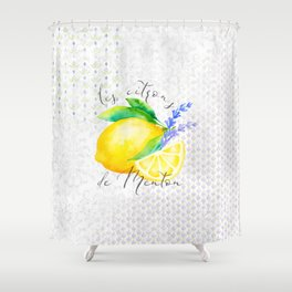 Les Citrons de Menton—Lemons and Lavender, Provence Shower Curtain