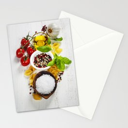 italian pasta with vegetables, herbs, spices, cheese and olive oil Stationery Cards