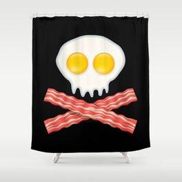 Skull With Crossed Bacon  Skull Bacon Eggs Shower Curtain