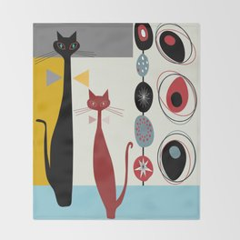 Mid-Century Modern Art Cats Throw Blanket