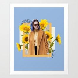 Sunflower Power Collage Art Print