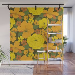 Orange & Yellow Lilies Retro Floral Pattern Wall Mural