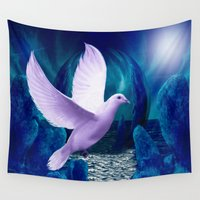 spiritual Wall Tapestries featuring The Spiritual Realm - Dove by Madeline M Allen