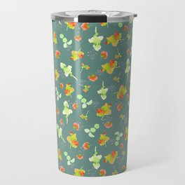 Floral pattern-Gray background pattern-small scale Travel Mug