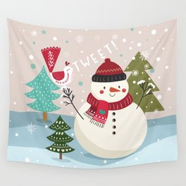 The Sweet Song Of Winter Friends Wall Tapestry