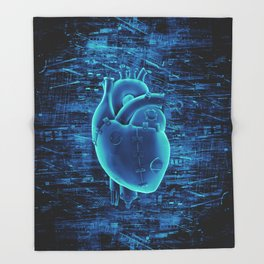 Gamer Heart BLUE TECH / 3D render of mechanical heart Throw Blanket