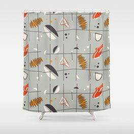 Mid-Century geometric pattern brown red and gray Shower Curtain