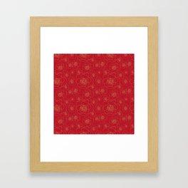 Golden Roses on Red Framed Art Print