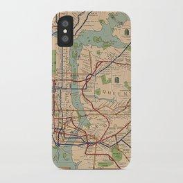 New York City Metro Subway System Map 1954 iPhone Case