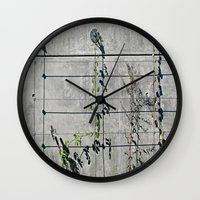 the wire Wall Clocks featuring Wire Trellis  by Ethna Gillespie