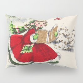 Vintage Christmas Girl Pillow Sham