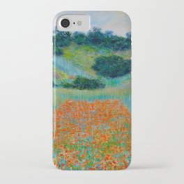 Claude Monet Impressionist Landscape Oil Painting Poppy Field in a Hollow near Giverny iPhone Case