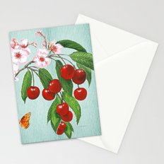 Cherries on Vintage  Stationery Cards