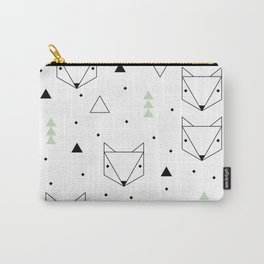 Scandinavian woodland fox forest mint black and Carry-All Pouch