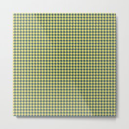 Yellow Blue Houndstooth Pattern Metal Print
