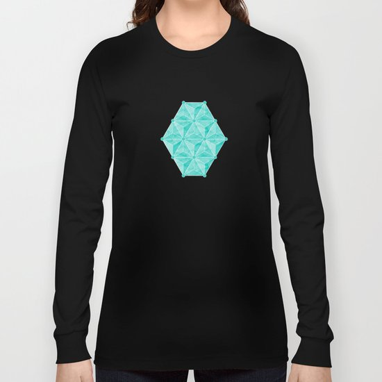 Geodesic Palm_Turquoise Long Sleeve T-shirt