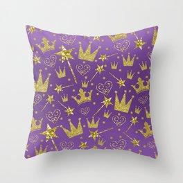 Purple & Gold Glitter Princess Throw Pillow