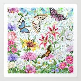 Magical Butterfly Flower Garden Art Print