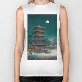 Tsuchiya Kôitsu Japanese Woodblock Vintage Print Garden At Night Moonlit Pagoda Tower Turquoise Sky Biker Tank