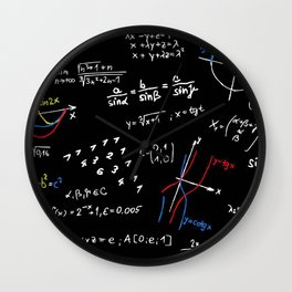 math blackboard Wall Clock