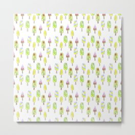 Watercolor seamless ice cream pattern Metal Print