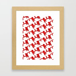 Monkey Toy Pattern - Red Framed Art Print