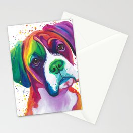 Rainbow Boxer Dog breeed Stationery Cards